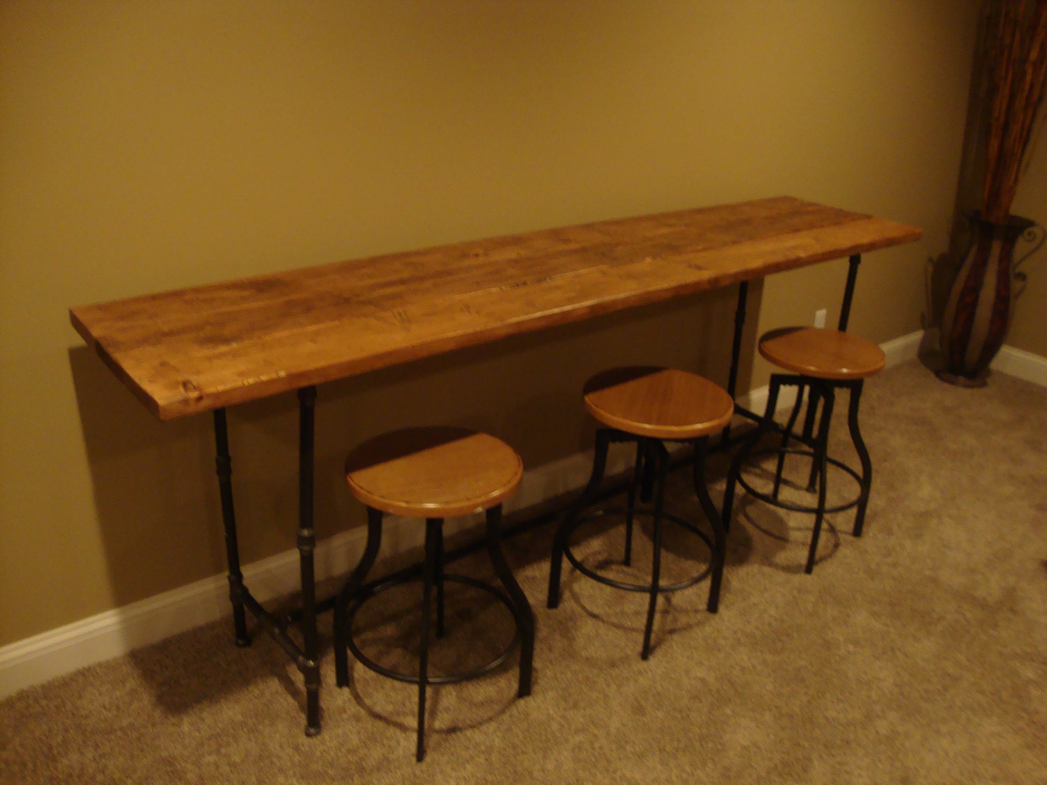 Counter Height Reclaimed Wood Table : ... similar to Reclaimed Wood Black Pipe CounterHeight Table/Bar on Etsy