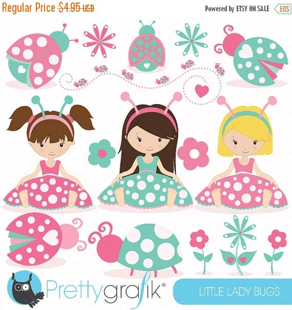 Pink and green ladybug clipart