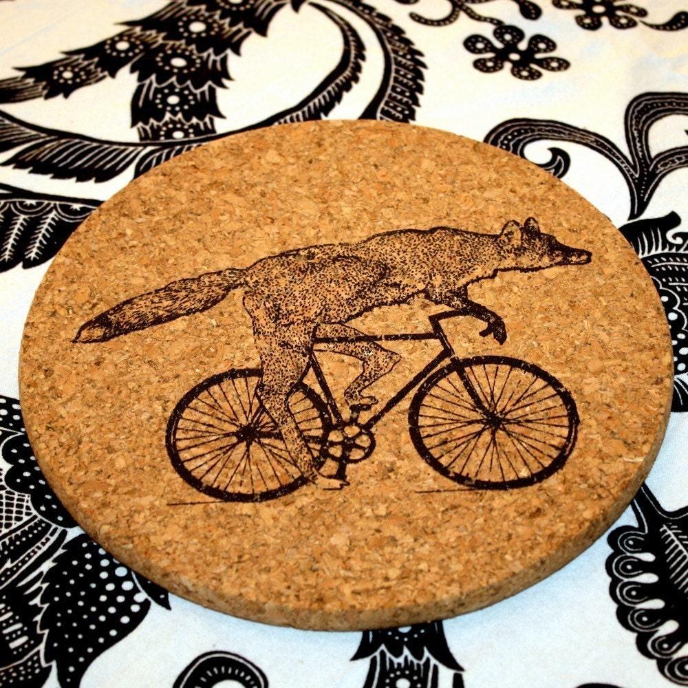 Fox on a Bike -Cork Trivet