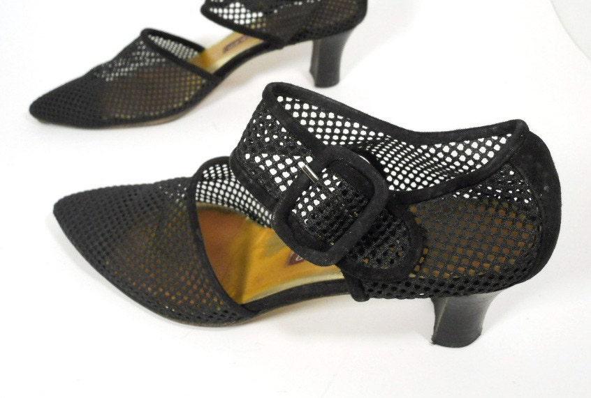 Walter Steiger Navy Mesh Heels with Buckle sz. 6.5