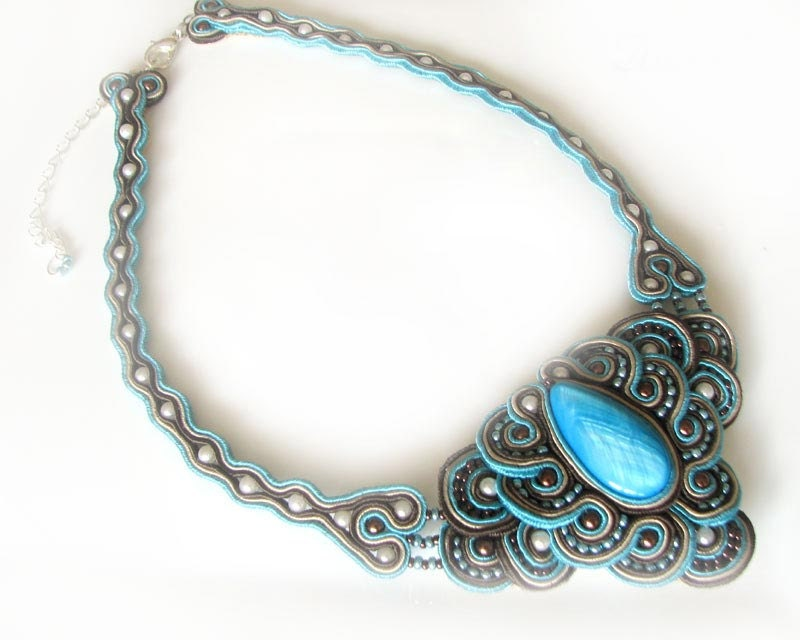 Soutache necklace - turquoise & brown - NO SHIPPING COST