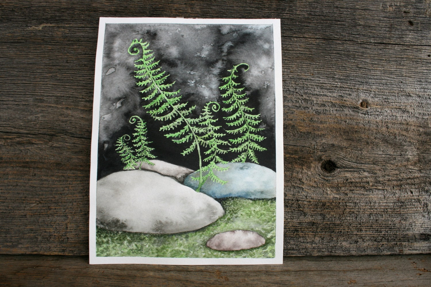 Dancing Ferns - Original Watercolor Painting - 9X12 - TwigsandBlossoms