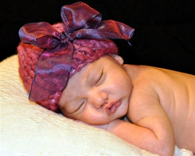 Purple Pixie Hat w/ Bow Photo Prop