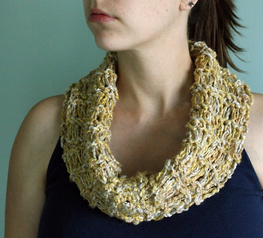 Hand knit Cowl/Neckwarmer/Circle Scarf in Pale Gray, Honey Beige, and Golden Yellow