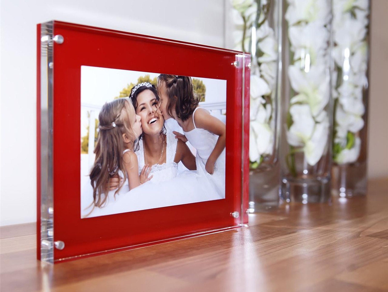 Red black white pink blue acrylic 20mm magnetic desk frame for 6x4 photo  picture