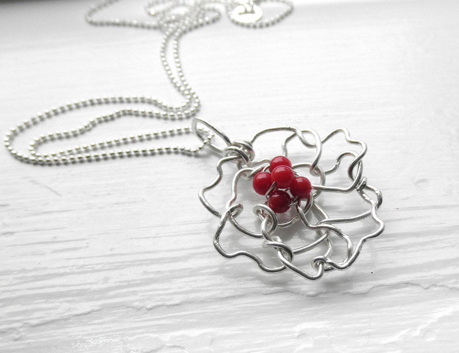 Sterling Silver Flower Pendant with Dyed Red Coral