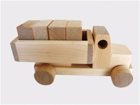Wooden Toy Truck With Blocks Natural Wooden by thewoodenhorse
