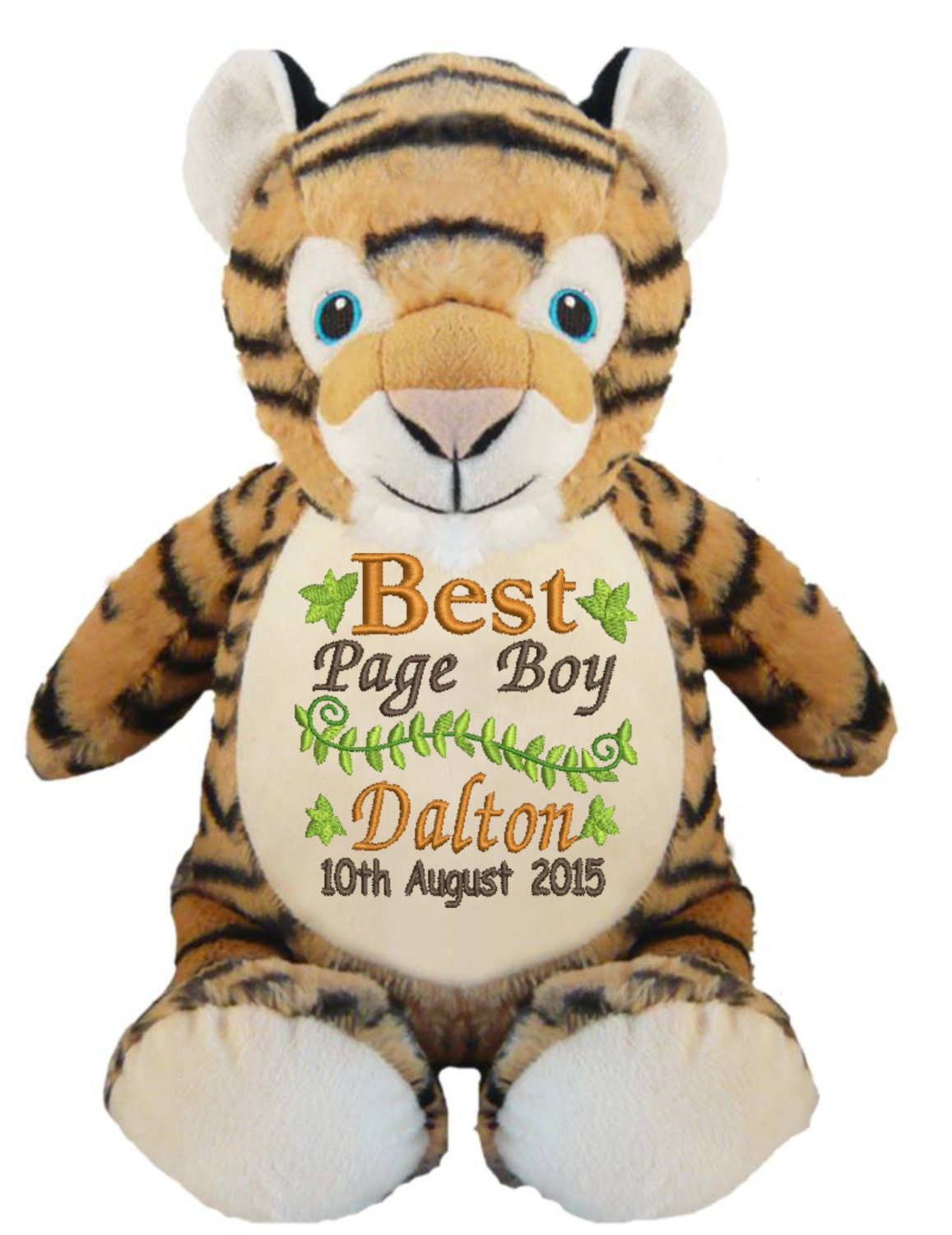 Personalised Embroidered Tiger Cubbie Bear Unique gift for Baby Births Flowers Girl Page Boy Christening Birthday Special Occasion