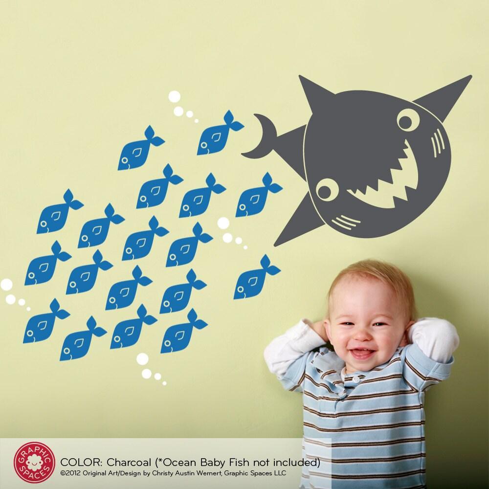 ocean nursery shark wall decal sea life by graphicspaces