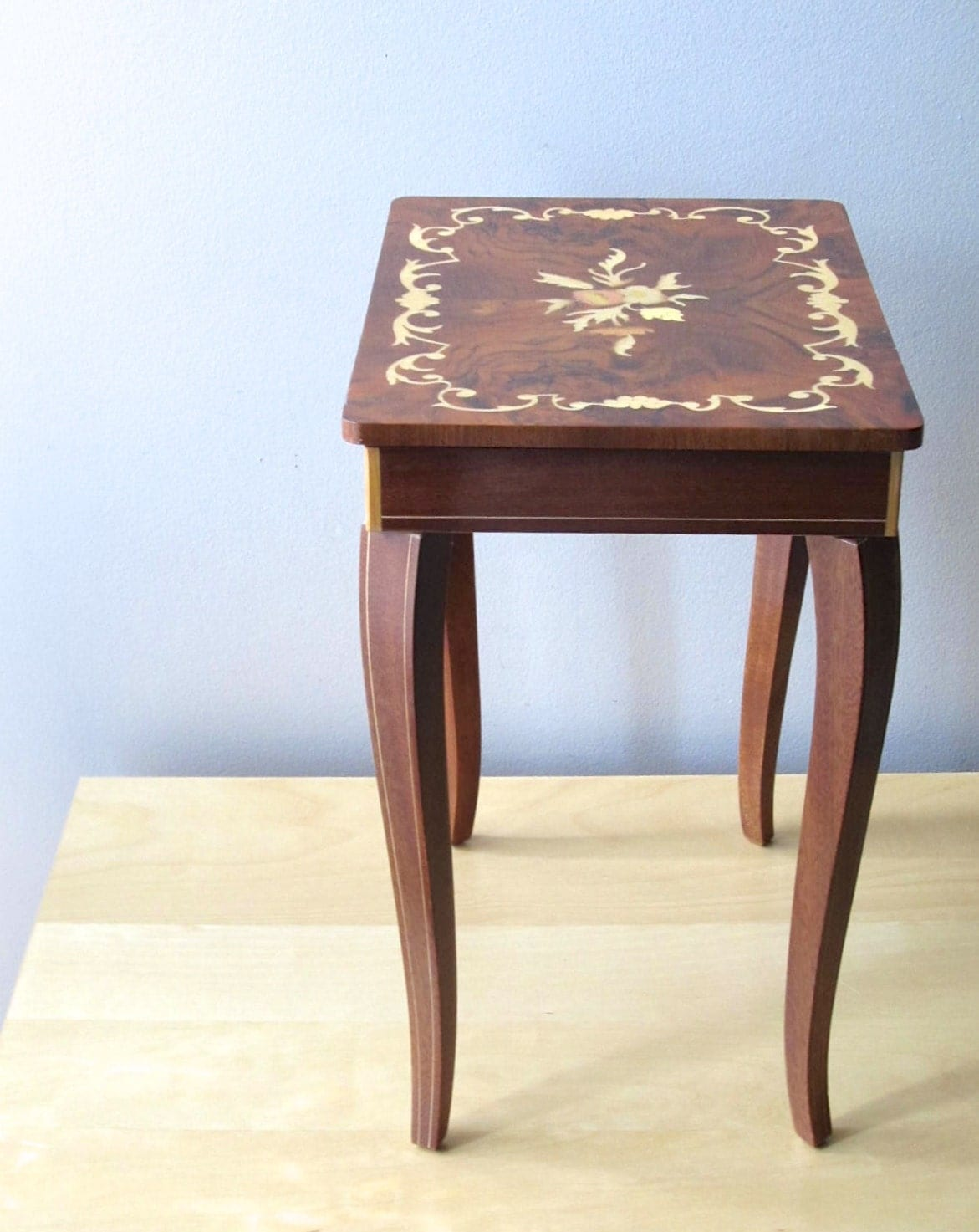 Music box rosewood inlay italian side table jewelry by ionesattic