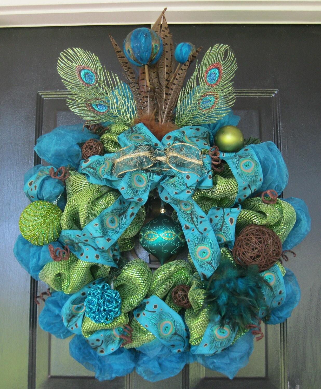 Peacock Blue and Green Deco Mesh Wreath - CajunLadyWreaths