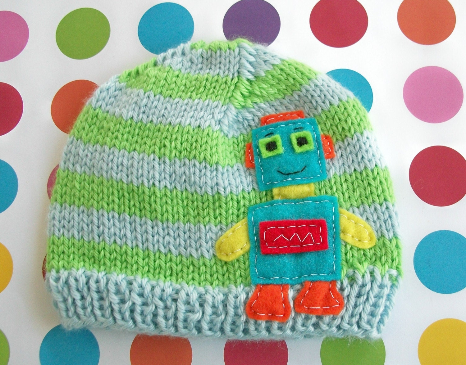 SKY  LIME   ROBOTO  Beanie Newborn Size- Made to order