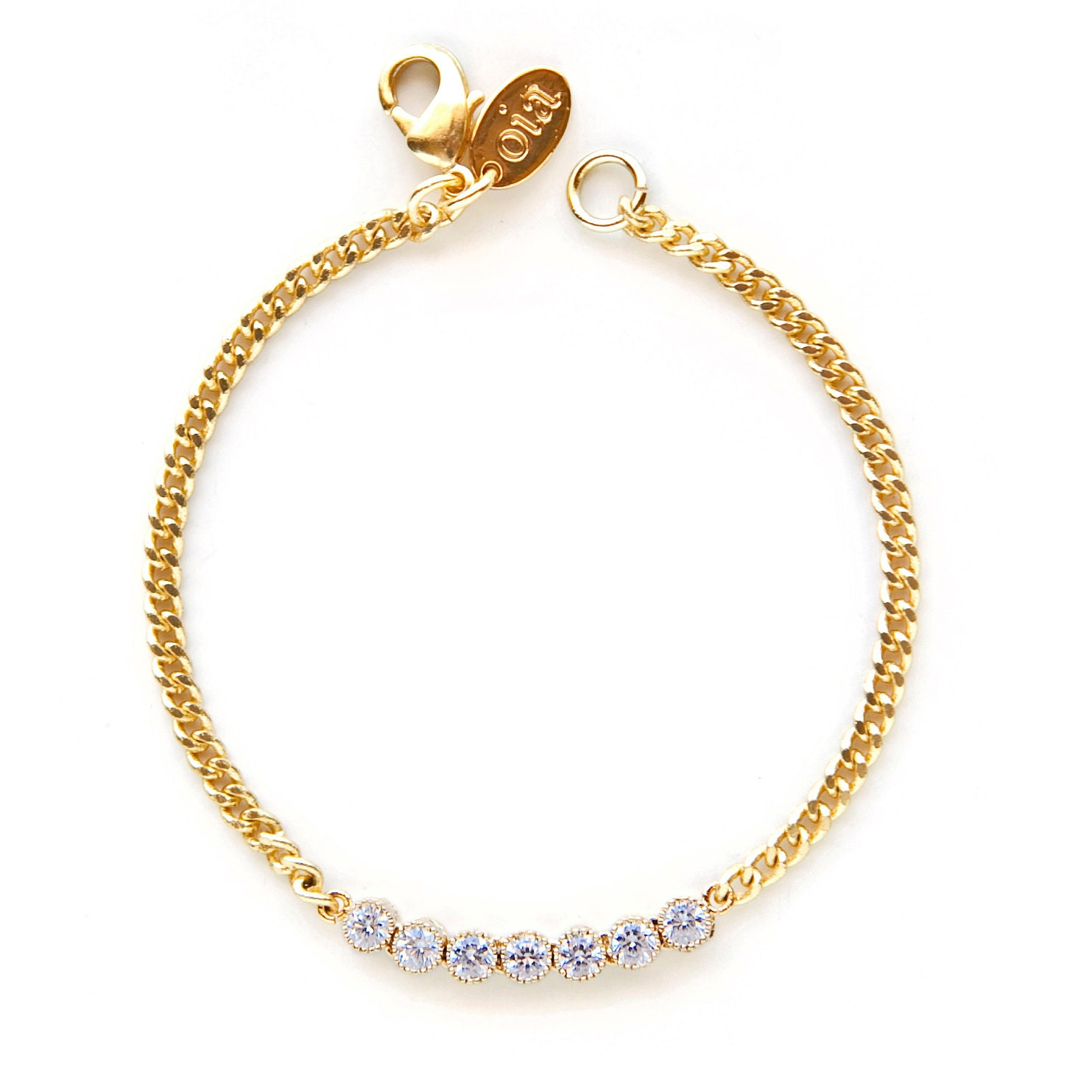 Delicate Gold and CZ Bracelet by oiajules on Etsy