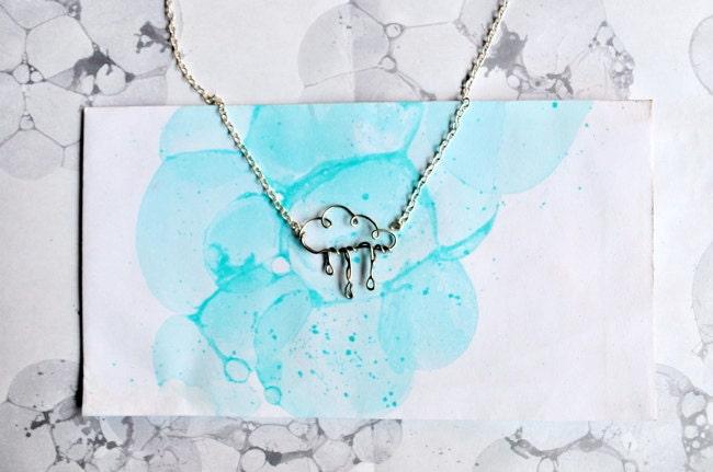 Spring Showers - Rain Cloud Necklace - Silver Rainy Day Jewelry - Springtime Raincloud Pendant - Exaltation