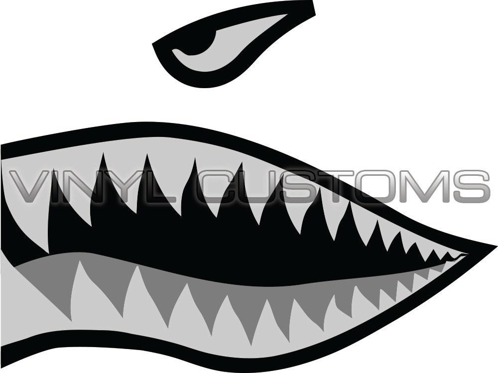 Shark mouth decal helmet