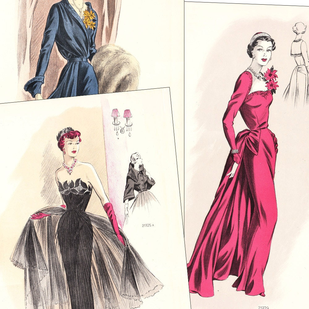 PDF of 50s sewing pattern catalog  Creations de Haute Couture  instant download