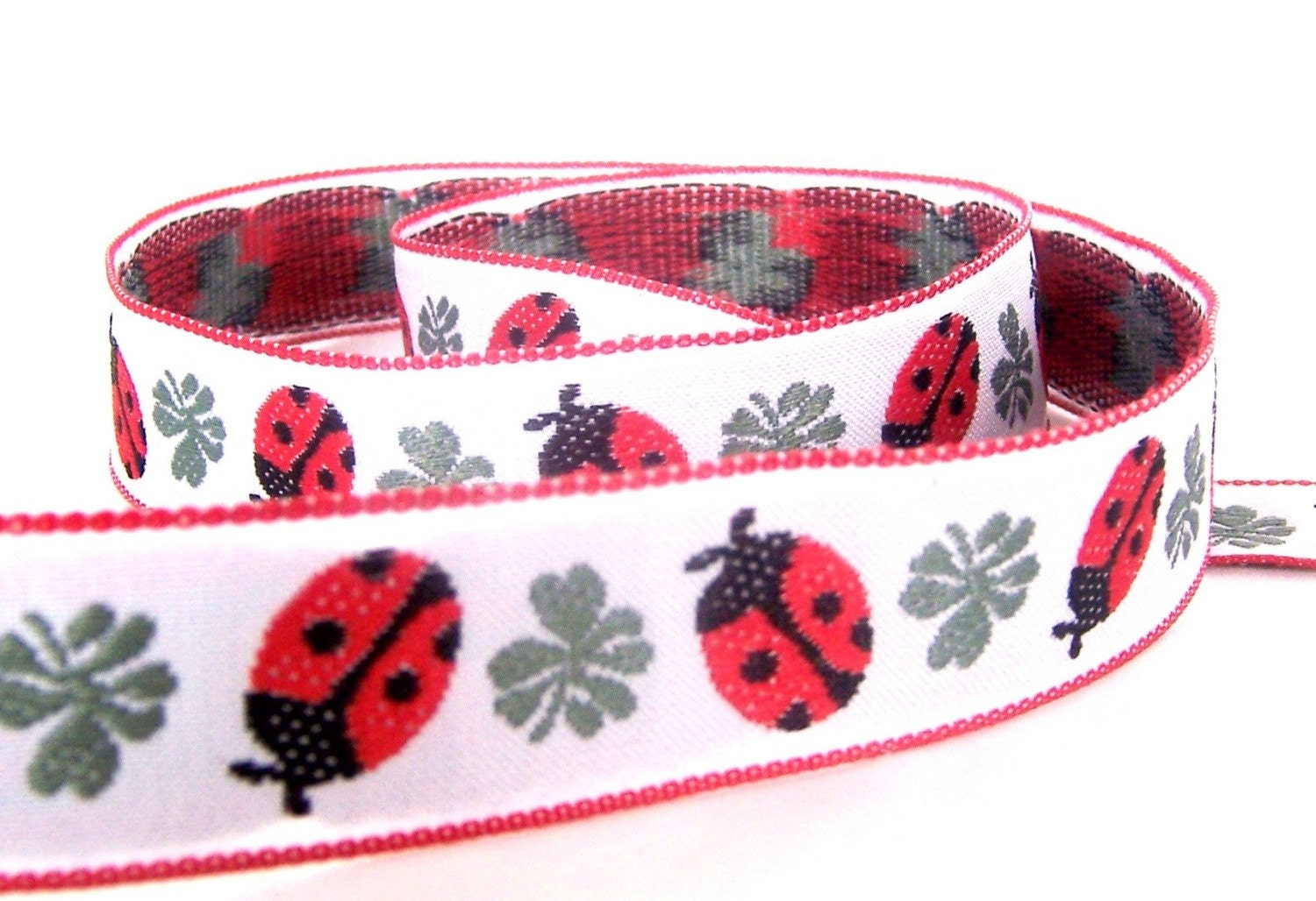 3 yards, 1 inch Red LadyBugs Ribbon, woven jacquard, trim