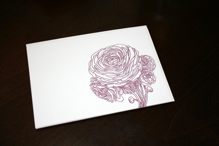 Peony Ranunculus - Gocco Screen Printed Flat Card Stationery Set