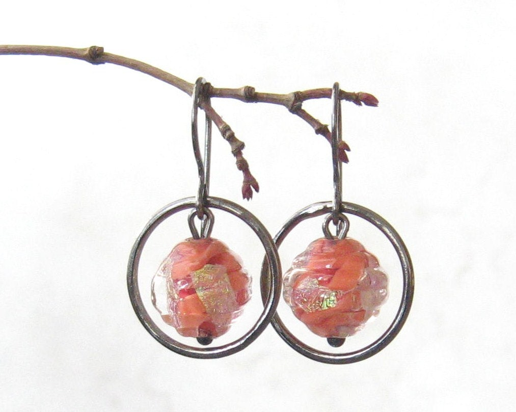 peach dangle earrings with lampwork glass beads and sterling silver - theBeadAerie