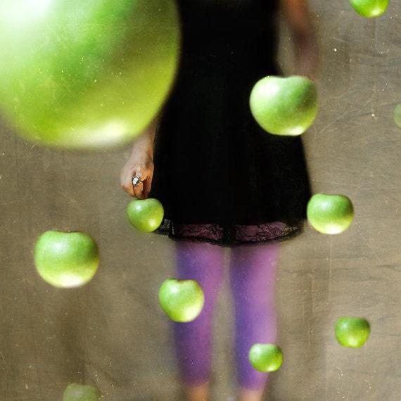 La Collectionneuse 8x8 Conceptual Photograph. girl, woman, dark art, surreal photo, green apples, black purple - borninnovember