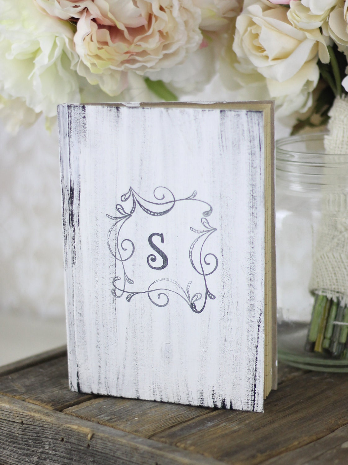 Wedding guest book shabby chic decor rustic item by - Shabby chic decor for sale ...