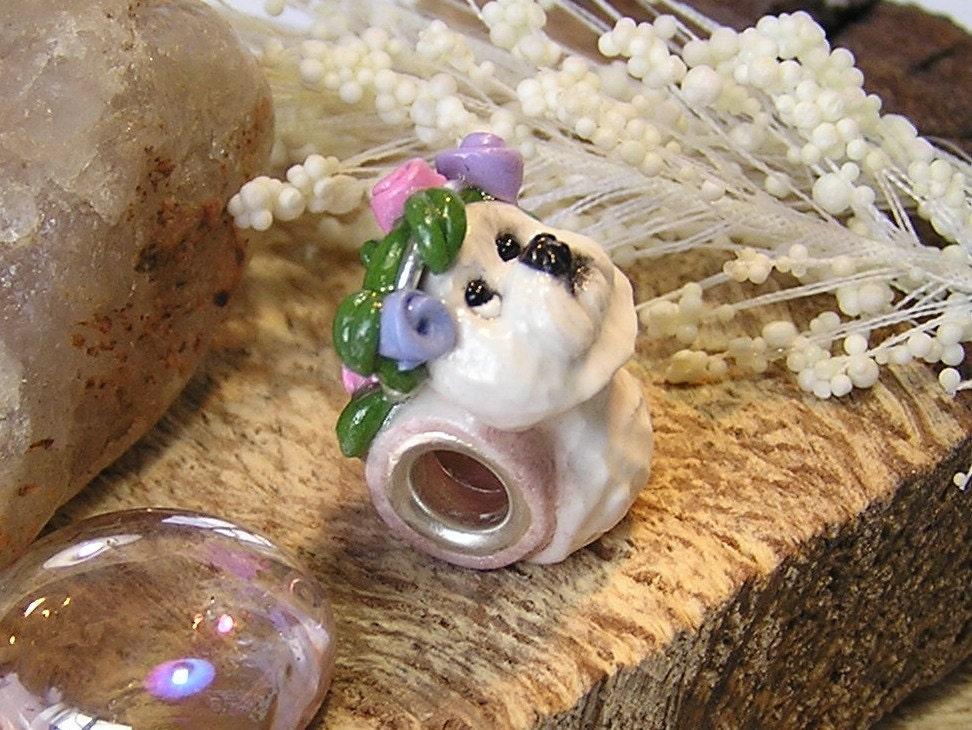 Bichon Frise with Rosebuds Wreath Pandora Polymer by nanjodogz