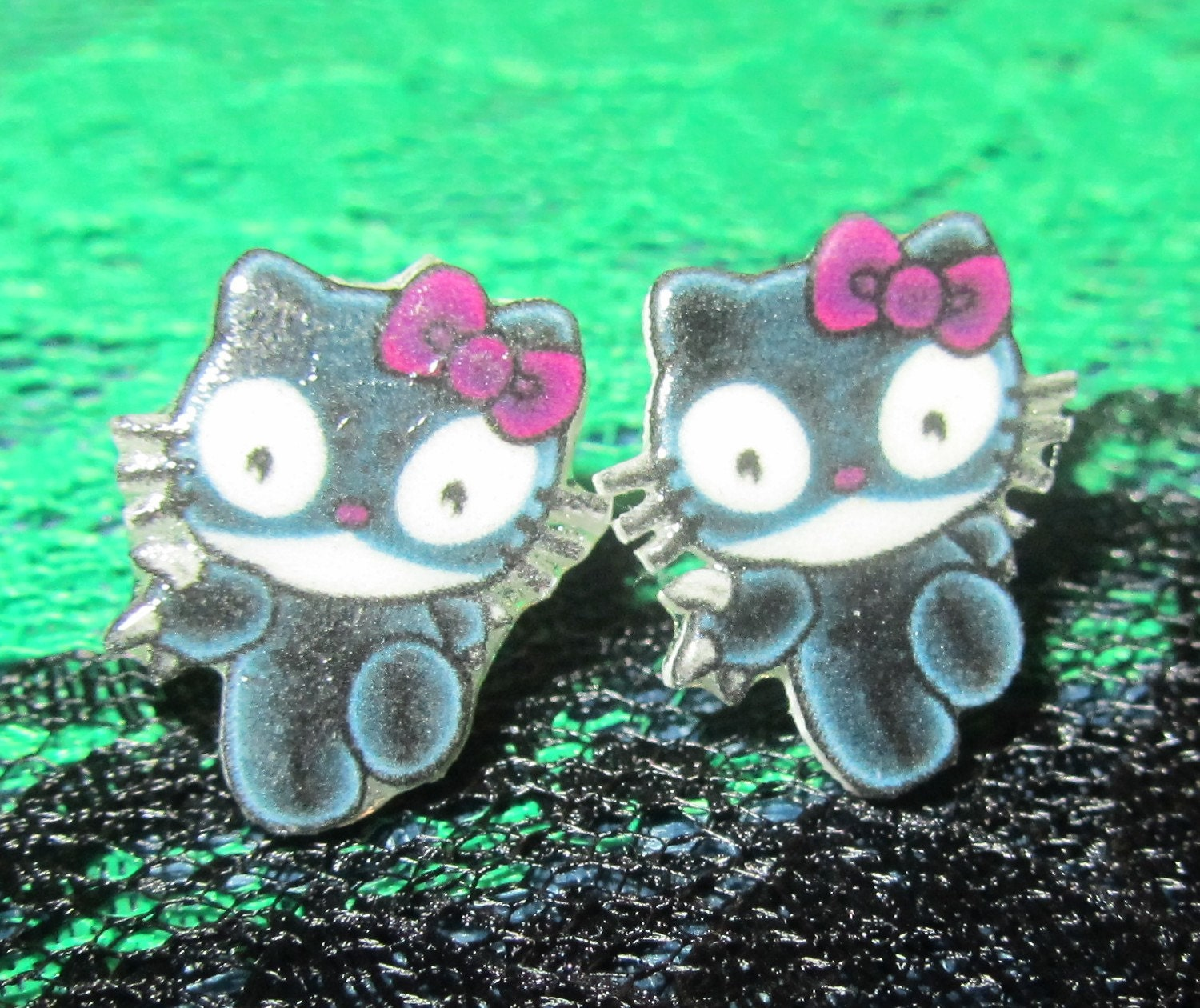 Hello Kitty Inspired Cat woman Kitty Stud Earrings Handmade Catwoman