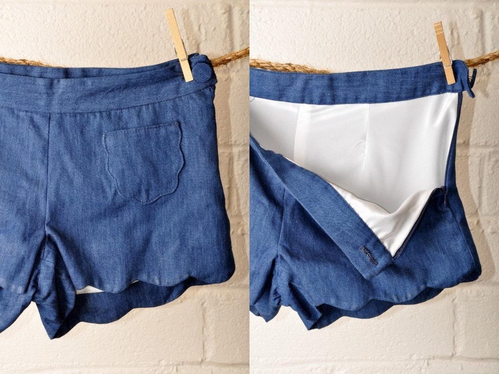 The Onda Short- scalloped denim shorts- xs/s/m/l