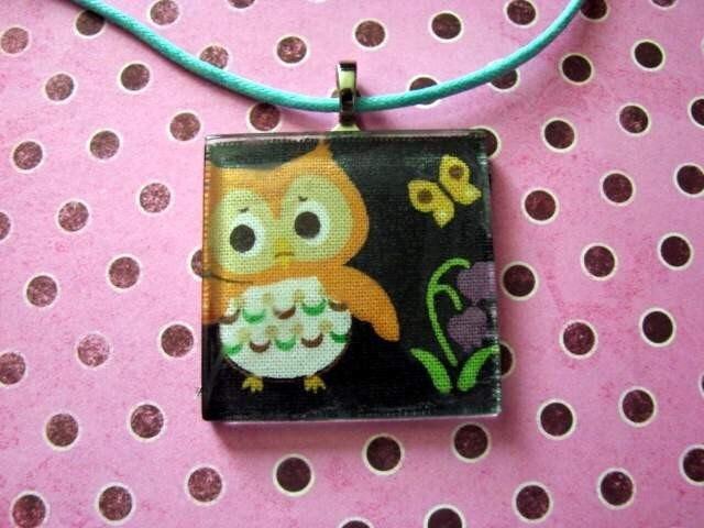 Retro Owl Black Fabric Pendant Jewelry Necklace Tile Art