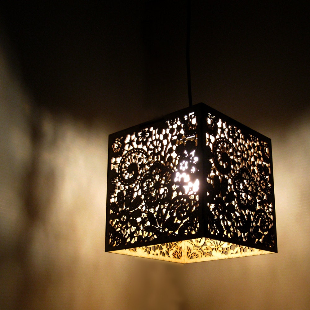 Wood Lace Pendant Light - Hanging Lamp Laser Cut Floral Pattern Doily Lighting Fixture - FabParlor