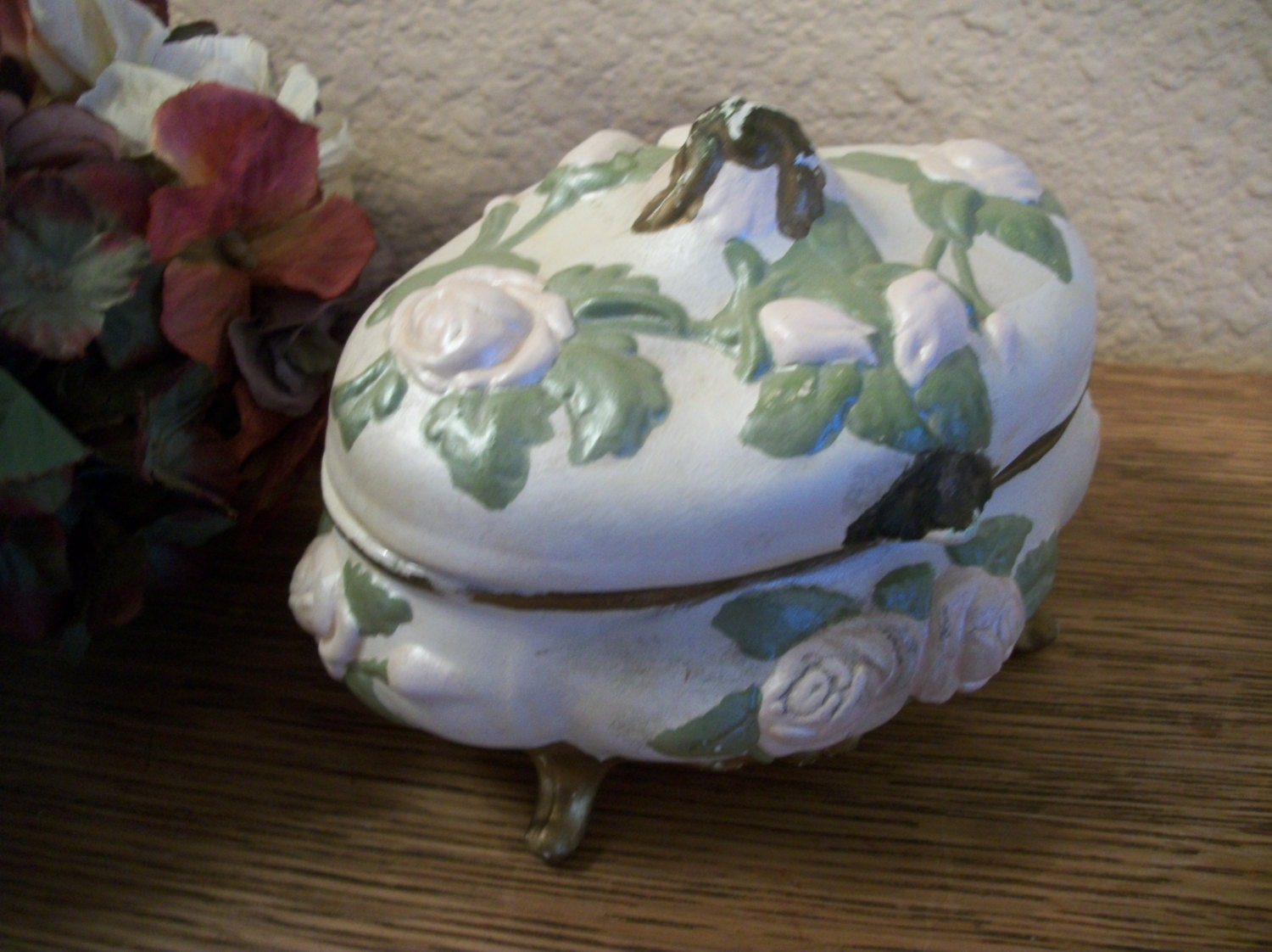 Dresser Top Jewelry Box White Ceramic with  Pink Roses and Green Leaves Gold Trim Shabby Cottage Vintage 1960's Handcrafted Trinket Dish - SpringJewelryThings