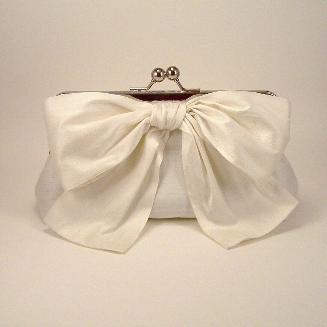 Luxury Big Bow Bridal Clutch in Ivory Silk - Lined in Powder Blue