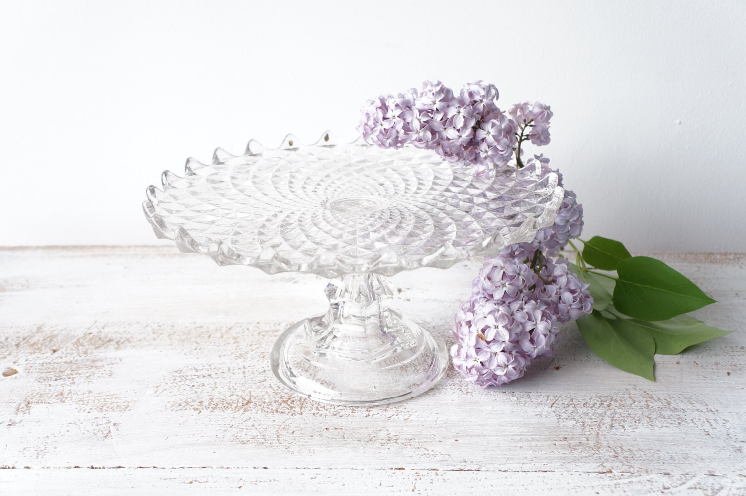 Items similar to Vintage Glass Cake Stand, Glass Cake ...