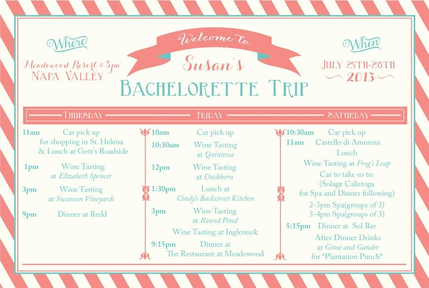 Bachelorette Weekend Itinerary by Oohlalovely on Etsy