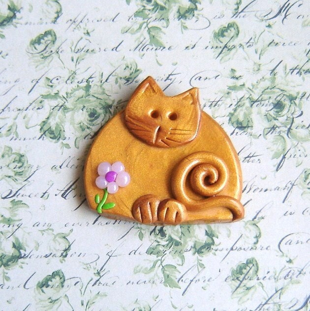 Polymer Clay Golden Cat with Flower pin or magnet