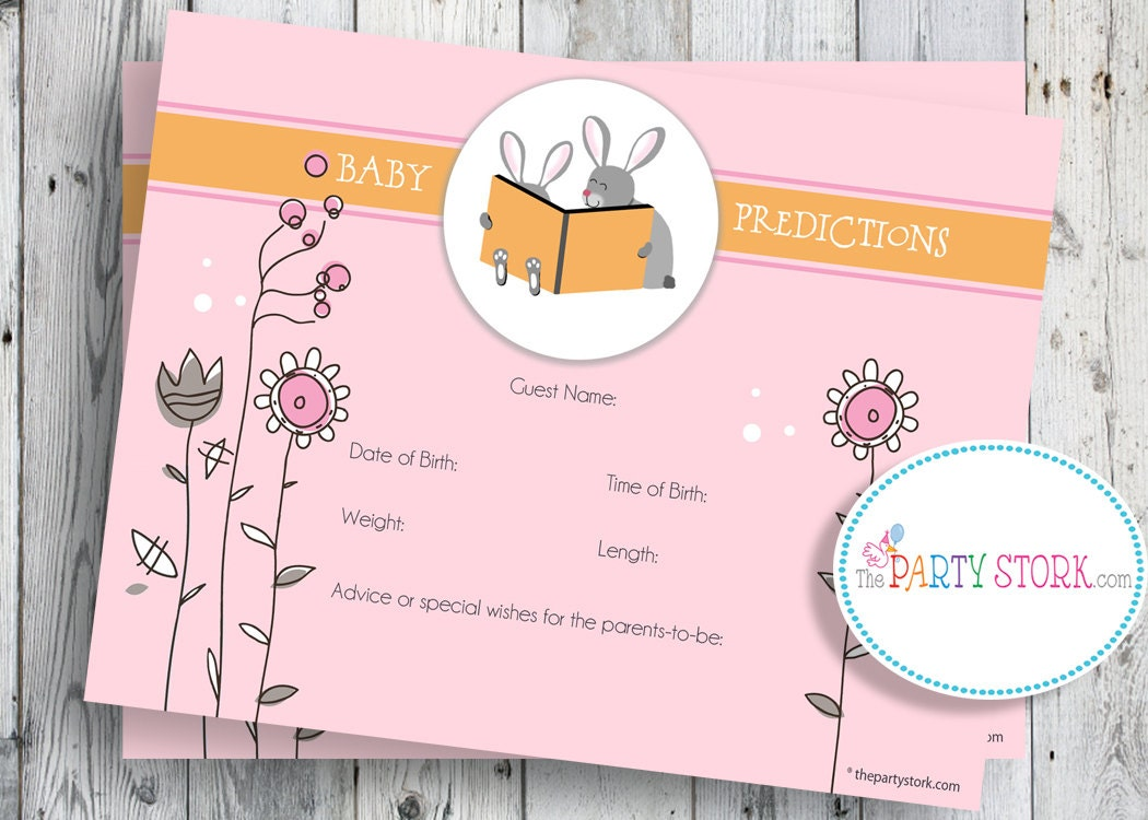 Baby Shower Game, Printable Baby Prediction Cards, Rabbit, Bunny ...