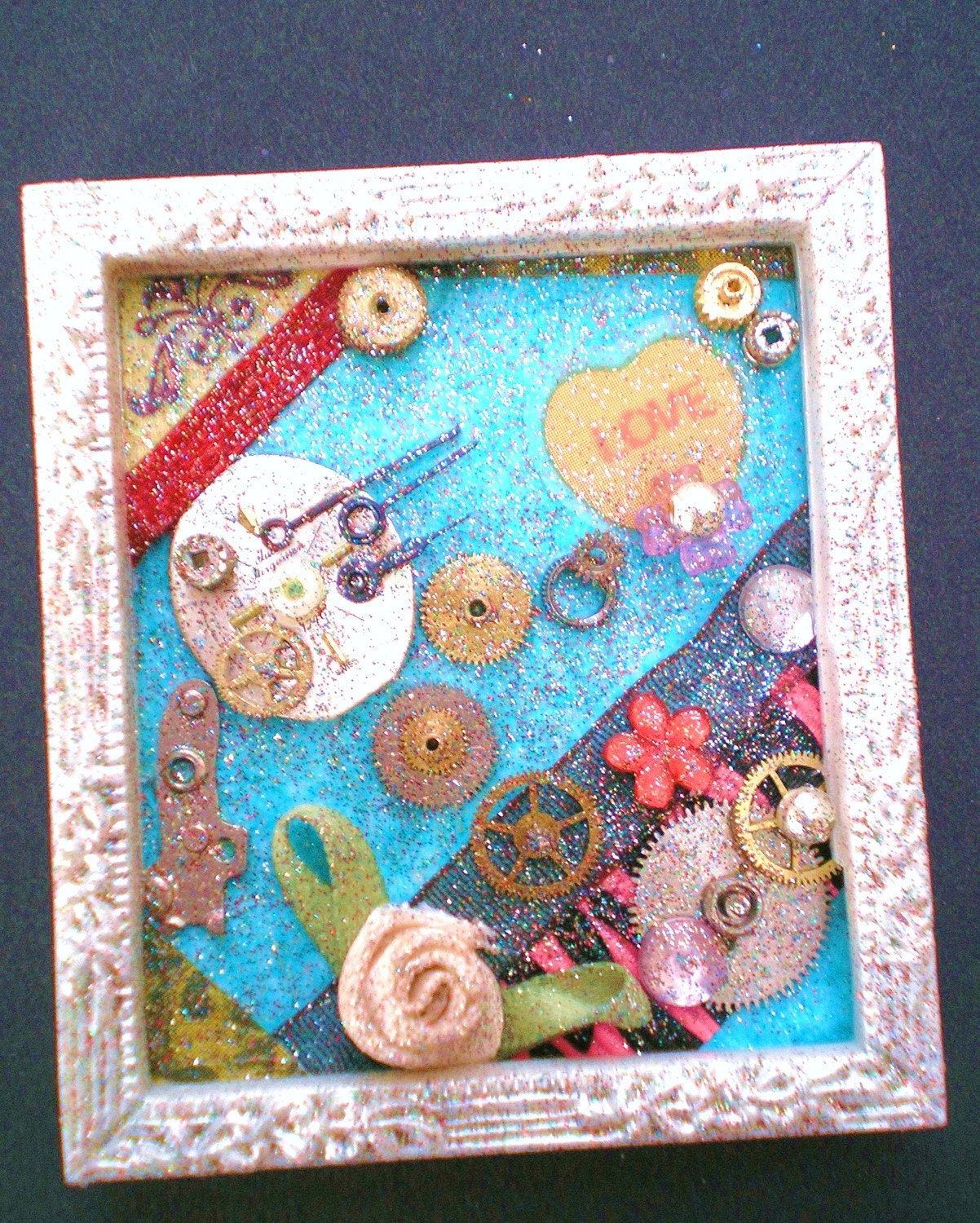 No Other Thought - Tiny Collage Mixed Media OOAK Framed Signed with Jewels Satin Flower Heart Ribbon Watch Parts