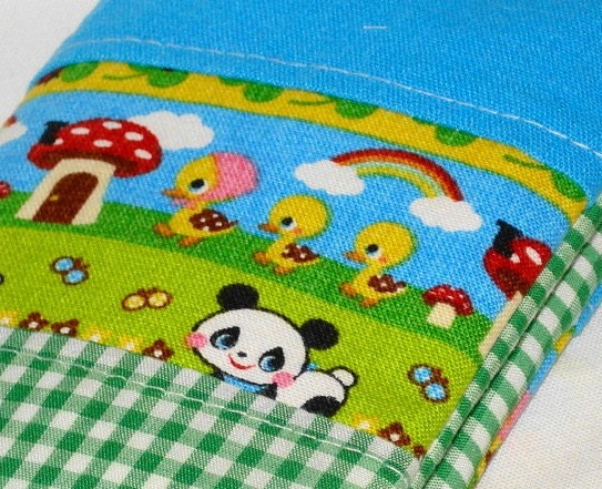 WB Travel --- Sweet Panda Passport Sleeve -- Green and Aqua Linen Patchwork by WolfBait on Etsy from etsy.com