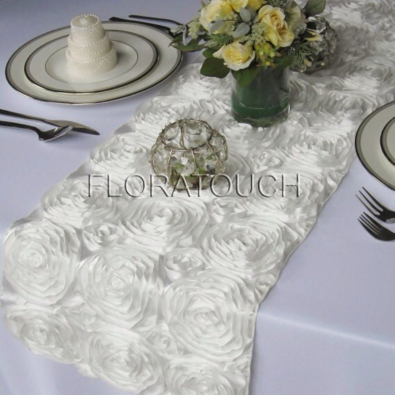 by Off Rosette Wedding table overhang Table  floratouch white Satin runner Runner Ribbon