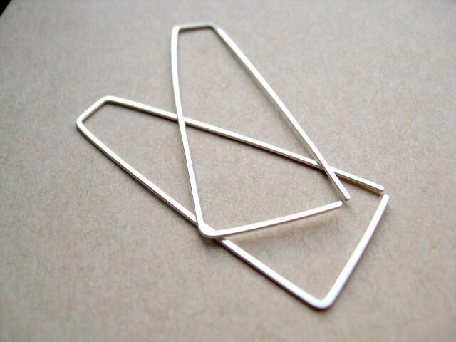 triangle earrings. sterling silver earrings. open hoops. silver hoop. geometric. splurge. - Splurge