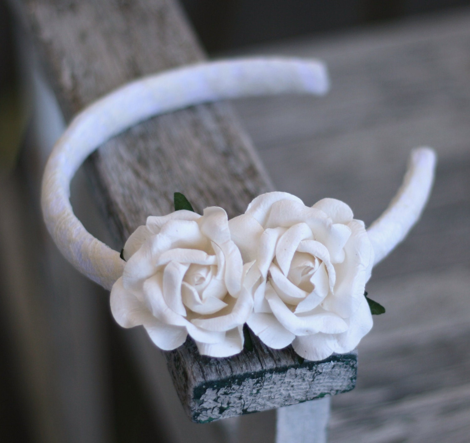Rustic Woodland Vintage Inspired Head Band Hair Comb With Paper Roses Shabby Lace