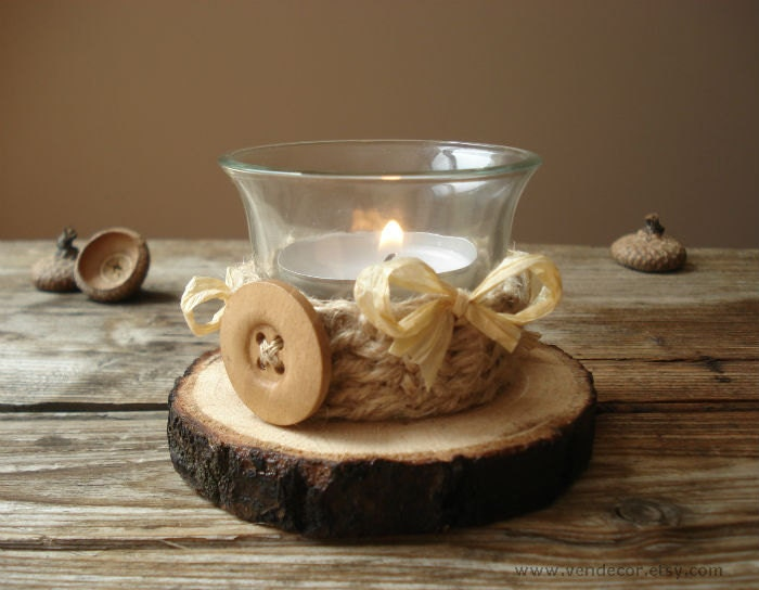 Items similar to wood slice crochet twine candle holder for Rustic wood candle holders