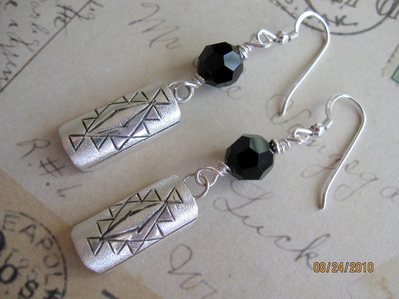 Black Crystal and Sterling Earrings