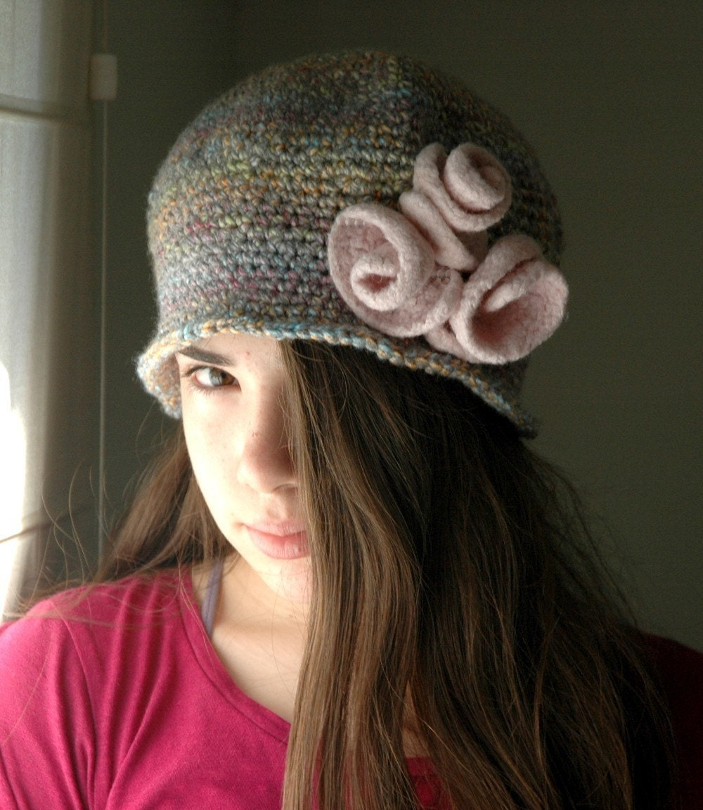 Cloche Hat with Soft Pink Felted Roses