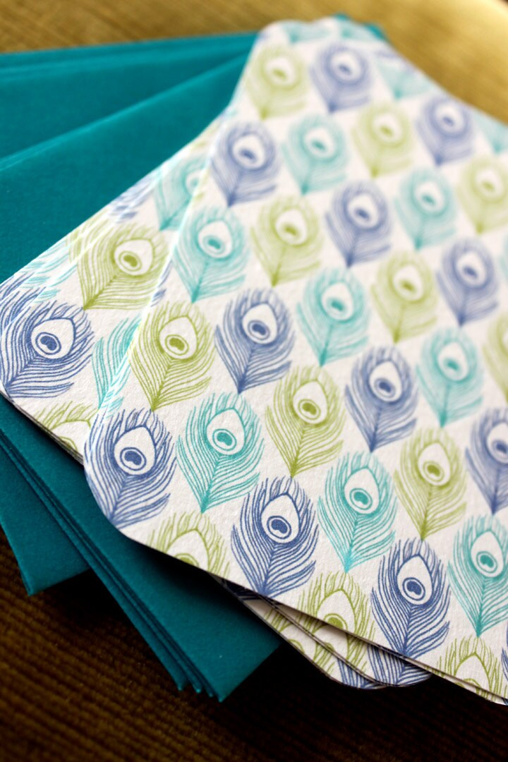 Peacock Feather Pattern Flat Notes-set of 8