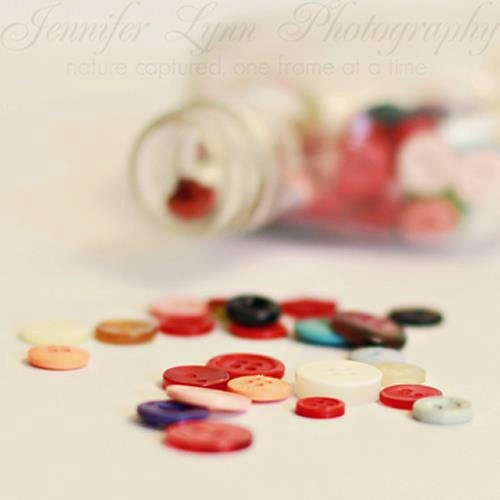 Buttons n.1 / 5x5 Fine Art Photograph / buttons vintage bottle / red pink purple white black peach - JenniferLynnPhotos