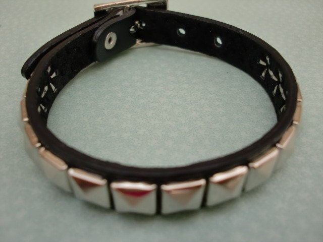 Chic Stud  Repurposed Leather Bracelet/Leather Armband/New Design 2010/LIMITED  EDITION/BLACK