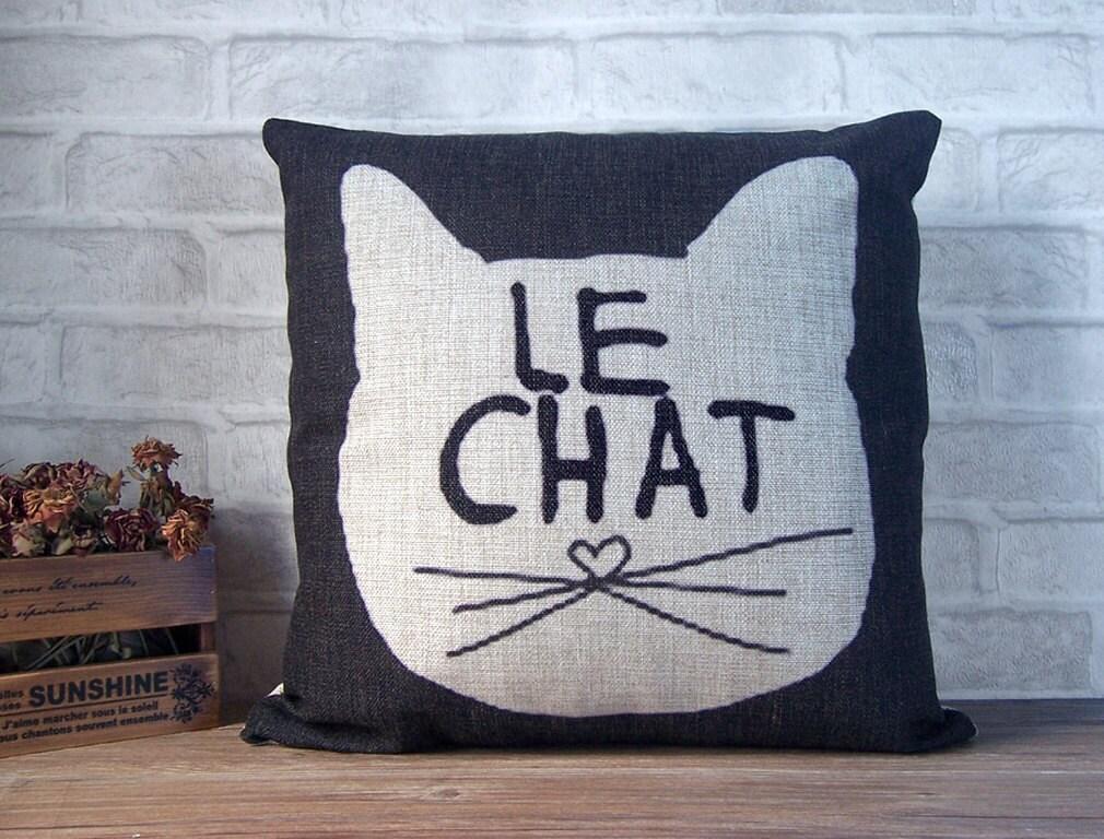 SALE -Cat pillow case -black linen pillow -black decorative throw pillow cover with cat design - black cat pillow cover - animal pillow case - Ideccor