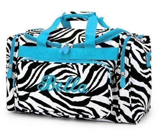 Personalized Duffle Bag Zebra Blue DANCE GYM Luggage