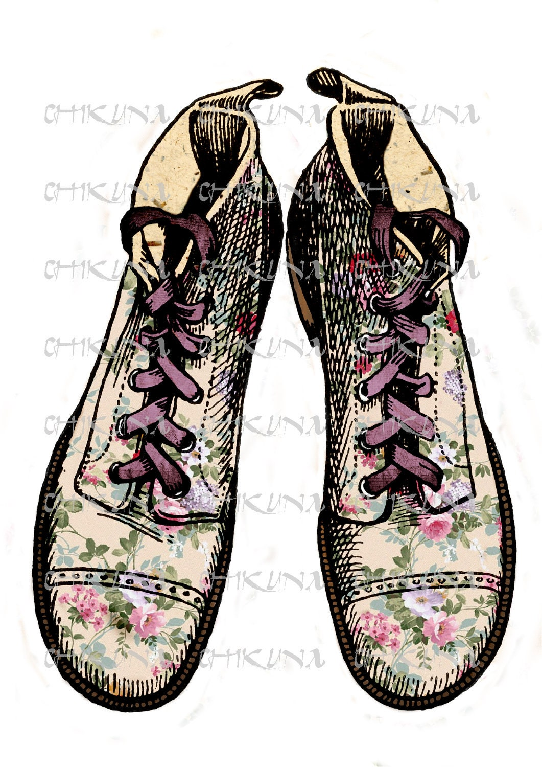 080 - Vintage Romance Village Shoes  - Download and Print - Transfer To Pillows, T-Shirt, Burlap, Tote, Bag. Print on Canvas, Paper - ChikUna